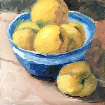 311 Apridots, Still Life Painting of Apricots In A Bowl by Fred Bell