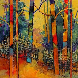 """Abstract Mixed Media Landscape Tree Art Painting """"Gateway"""" by Colorado Mixed Media Abstract Artist Carol Nelson"""