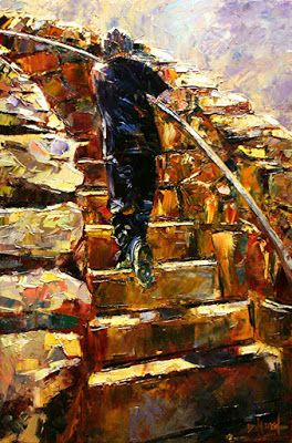 """Figure, Architecture, Cobblestone, Stairs , Fine Art Oil Painting """"Halfway There"""" By Texas Artist Debra Hurd"""