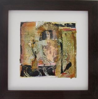 """Mixed Media,Collage Figurative Art Painting, """"Raven Messages"""" by Intuitive Artist Joan Fullerton"""