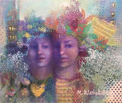 """Contemporary Mixed Media Portrait Painting """"Come Mia Bella"""" by Illinois Artist Marilyn Weisberg"""
