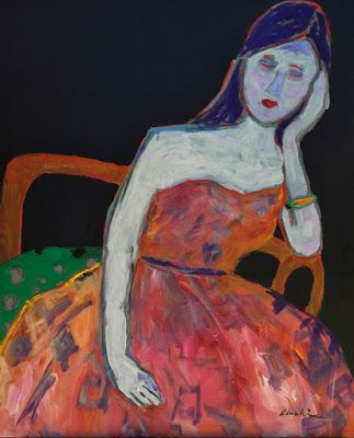 """Contemporary Figurative Painting, Red Dress, Woman in Chair, """"After The Party"""" by Oklahoma Artist Nancy Junkin"""