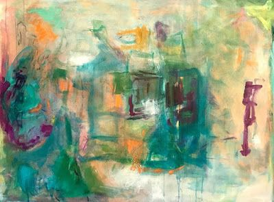 """Abstract Art,Contemporary Painting, Expressionism, """"Musical Chairs"""" by Oklahoma Artist Nancy Junkin"""