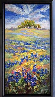 "New ""Visions of Blue"" Palette Knife Bluebonnet Painting by Texas Artist Niki Gulley"