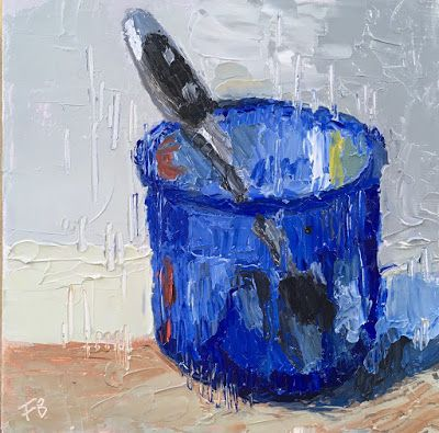330 Blue Glass, Still life painting of a blue glass with a spoon in it
