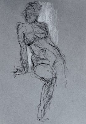 It Begins with a Gesture - original charcoal figurative gesture drawing on toned paper