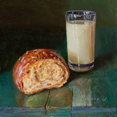 Bread and milk painting original still life contemporary realism