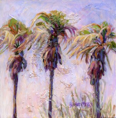 """Palm Trees,Contemporary Mixed Media Landscape, Original Painting """"Three Sisters"""" by Passionate Purposeful Painter Holly Hunter Berry"""