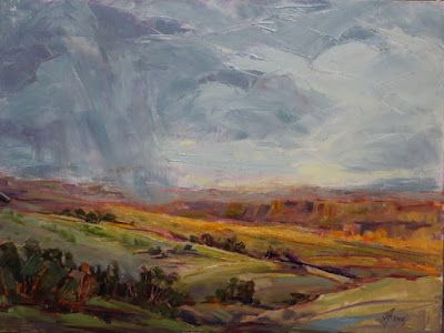 "Contemporary Impressionist Landscape Painting,Colorado Landscape, Fine Art Oil Painting,""Sunshine and Thunder"" by Colorado Contemporary Fine Artist Jody Ahrens"