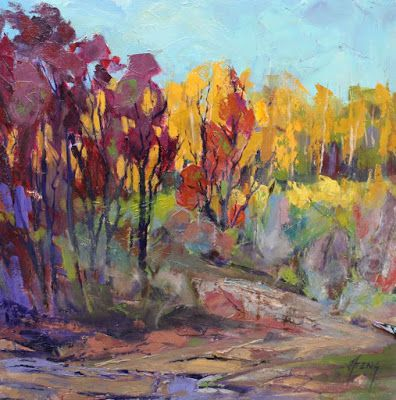 "Impressionist Landscape,Trees, Fine Art Oil Painting ""Oak Brush"" by Colorado Contemporary Fine Artist Jody Ahrens"