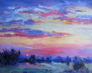 Pink Popping Sunrise, New Contemporary Landscape Painting by Sheri Jones