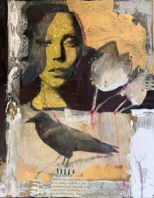 """Contemporary Mixed Media Portrait Painting """"Growing Mystery"""" by Intuitive Artist Joan Fullerton"""
