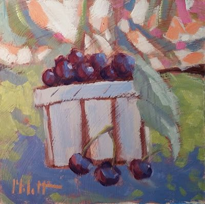 Still Life Pint of Cherries Original Oil Painting Heidi Malott