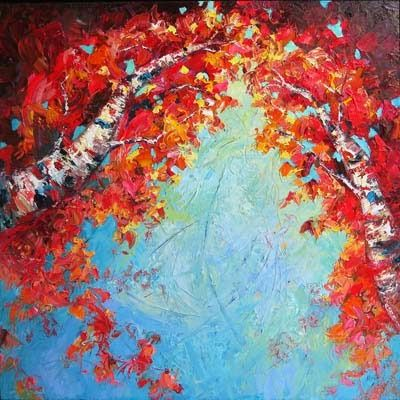 """""""Embrace"""" textured birch oil painting by Niki Gulley"""