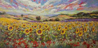 """New """"Sun's Bounty II"""" Palette Knife Sunflower Painting by Contemporary Impressionist Niki Gulley"""