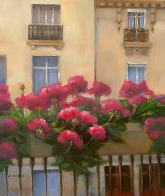 "Parisian Architecture Fine Art Painting, Flower Boxes ""Paris Windows II"" by Illinois Artist Marilyn Weisberg"