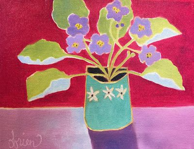 """Contemporary Abstract Still Life Flower Art Painting """"Little Violets 4"""" by Santa Fe Artist Annie O'Brien Gonzales"""