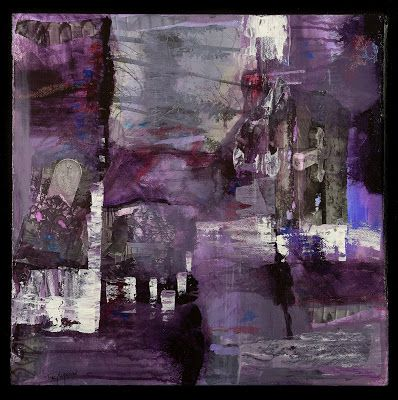 "Purple Art, Contemporary Art, Expressionism, Mixed Media Abstract Painting,""Walking in the Shadows"" by Contemporary Artist Tracy Lupanow"