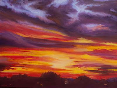 """Landscape Oil Painting, Sunset Art """"A New Dawn; A New Day"""" by Colorado Artist Nancee Jean Busse"""