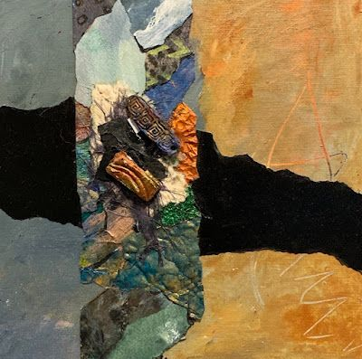 """Contemporary Painting, Mixed Media Art, Textured Art, Collage """"Between Sea and Sand"""" by Florida Contemporary Artist Mary Ann Ziegler"""