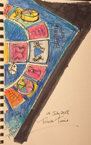 """Day 278 """"Trivia Time"""" ink and pencils 9 x 8"""