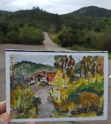 At Lake Hodges with my Gouache Palette