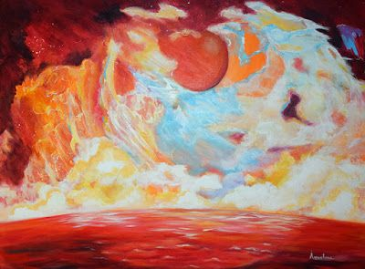"""Contemporary Abstract Seascape Painting """"Mapped Wisdom"""" by International Abstract Realism Artist Arrachme"""