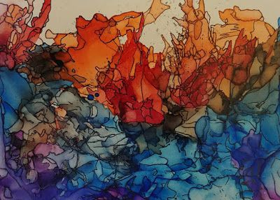 """Abstract Art, Expressionism Painting, Contemporary Art, """"Eruption"""" by Cynthia Berg"""