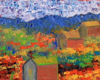 "Original Palette Knife Colorado Landscape Painting ""Old Town"" by Colorado Impressionist Judith Babcock"