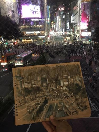 Shibuya evening sketch with Stephanie Bower