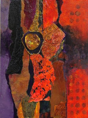 "Mixed Media Abstract Collage Painting, ""Madeline Island Demo 1"" by Carol Nelson Fine Art"