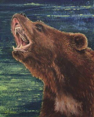 """Wildlife, Bear Painting """"Mama Bear"""" by Colorado Artist Nancee Jean Busse, Painter of the American West"""