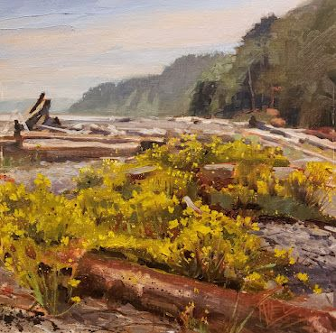"""""""Ala Spit"""" Whidbey Island plein air painting by Robin Weiss"""