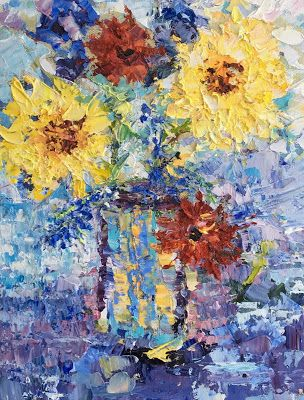 "Still Life Palette Knife Floral Fine Art Painting ""Impressions"" by Colorado Impressionist Judith Babcock"