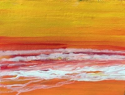"""Abstract Seascape Painting """"Sunset I"""" by California Artist Cecelia Catherine Rappaport"""