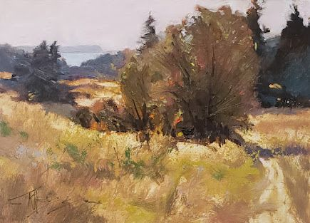 """""""Field of Gold"""" plein air landscape painting by Robin Weiss"""