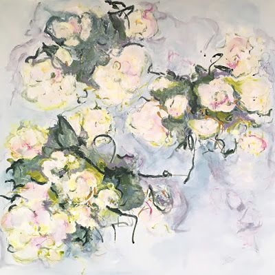 """Contemporary Floral Abstract Fine Art Painting, """"ORCHARD WHITE"""" by Contemporary Expressionist Pamela Fowler Lordi"""