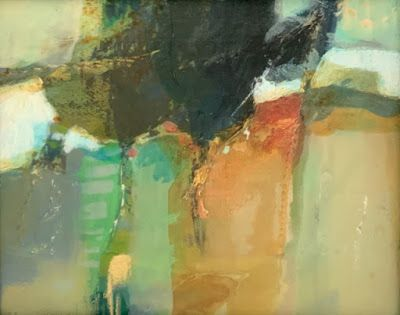 """Contemporary Mixed Media Landscape Painting """"Hillside Gathering"""" by Intuitive Artist Joan Fullerton"""