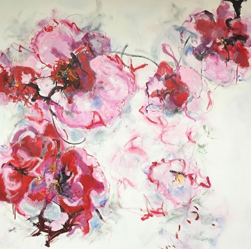 """Contemporary Abstract Floral Painting """"HAPPY BEES"""" by Contemporary Abstract Expressionist Pamela Fowler Lordi"""