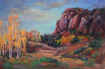 "Impressionist Landscape, Mountain Landscape, Trees, Fine Art Oil Painting ""Invisible Harmony"" by Colorado Contemporary Fine Artist Jody Ahrens"