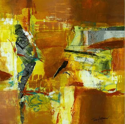 """Mixed Media Abstract Painting, Contemporary Art, Expressionism, """"Shattered"""" by Contemporary Artist Tracy Lupanow"""