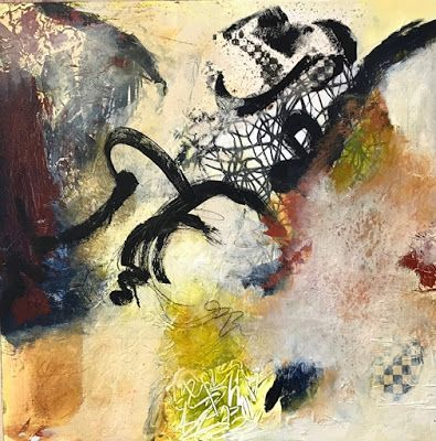 """Contemporary Art, Abstract Painting, Mixed Media """"The Tie that Binds"""" by Contemporary Artist Liz Thoresen"""