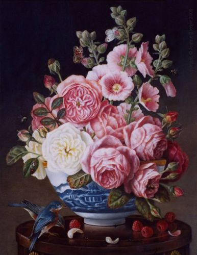 English roses hollyhocks bluebirds raspberries bees blue & white porcelain bowl still life oil painting old world classical