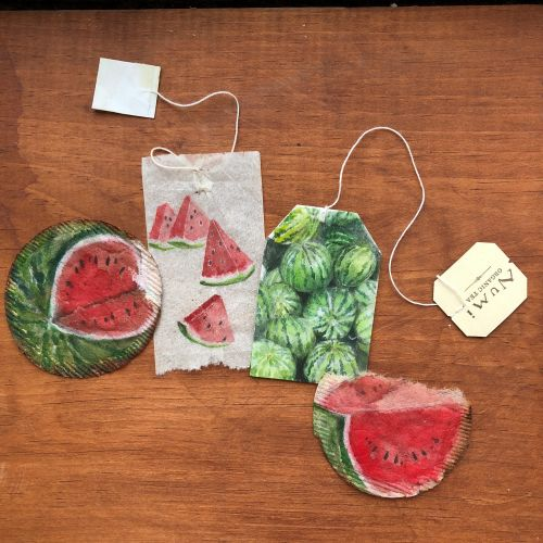 Miniature Watercolor Landscapes and Fashion Sketches Delicately Painted on Used Tea Bags