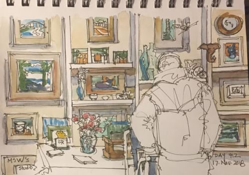 """Daily Drawing 412 """"MSW Studio"""" ink&watercolor 5 x 8 - love an open studio day"""