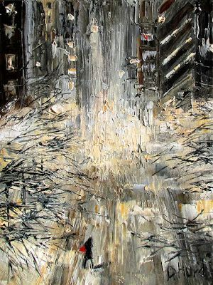 "Street Scene Cityscape Snow Storm New York City Paintings ""Manhattan Snow Storm"" by Texas Artist Debra Hurd"