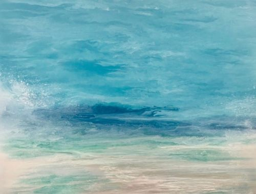 """Coastal Living Art Painting, Abstract Beach Art, Seascapes, Seascape Painting, Impressionist Seascape, Ocean Waves, Fine Art For Sale """"Sea Spray"""" Skillern's Seas Series by International Contemporary Artist Kimberly Conrad"""