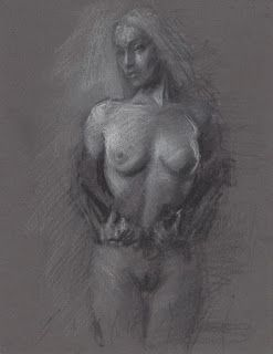 Undressed female nude figure drawing