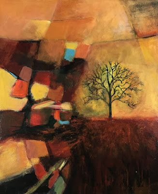 """Expressionism Art, Contemporary Art, Tree, Abstract Landscape Art For Sale """"BE LIKE THAT OAK"""" by Contemporary Artist Liz Thoresen"""