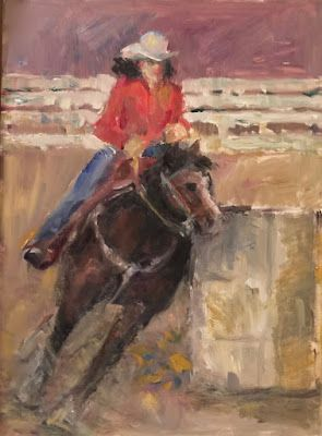 I Love Barrel Racing! - western figurative oil painting of horse and rider barrel racing